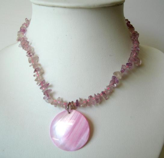 Primary image for Pink Shell Necklace w/ Shell Round Pendant & Shell Nugget