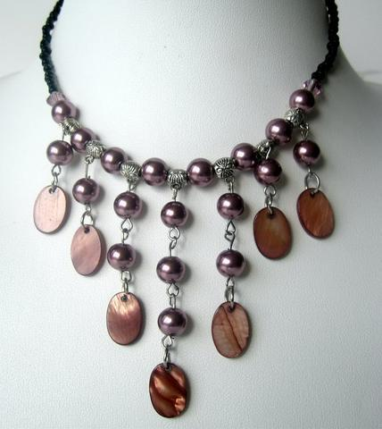 Primary image for Peral & Shell Necklace Cultured Pearls w/ Dangling Shell Choker