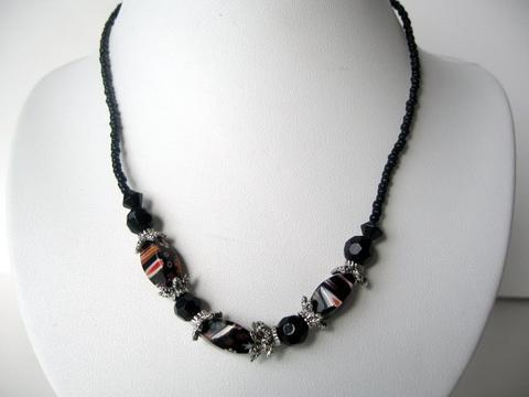 Choker Black Beaded w/ Silver Oxidized Beads Necklace