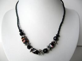 Choker Black Beaded w/ Silver Oxidized Beads Necklace - $7.87