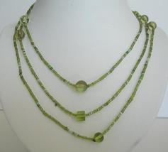Long Necklace Peridot Beaded Chain Beaded Necklace - $6.90