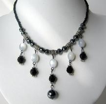 Choker w/ White & Black Beads & Acrylic Bead & Oxidized Metal Necklace - $8.20