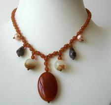 Nice Brown Lucite Bead Necklace w/ Simulated Stone Dangling - $7.55