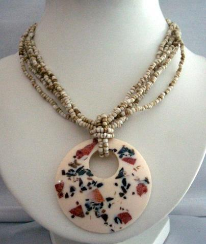 Necklace Multi Strand Cream Color w/ Mother Shell Round Resin Pendant