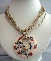 Necklace Multi Strand Cream Color w/ Mother Shell Round Resin Pendant - $9.48