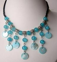 Blue Choker Peral & Shell Cultured Pearls w/ Dangling Shell Necklace - $8.20