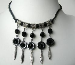 Cultured Pearls Black Knitted Thread w/ Hanging Black Pearls Necklace - $9.50