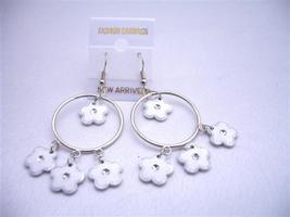 Earrings White Flower Dangling Inside & Out Hoop Chandelier Earrings - $4.30