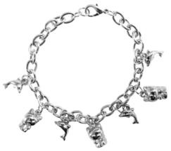 Charm Bracelet Thick Rhodium Dangling Dolphin & Kitty Charm Bracelet - $8.85