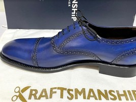 Handmade Men's Blue Leather Lace Up Dress/Formal Oxford Shoes image 6