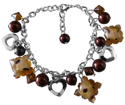 Brown Beads Pearl Heart Charm Brown Pearl Thick Chained Bracelet - $8.18