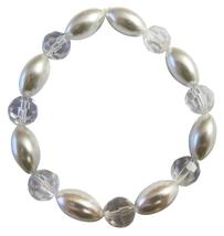 Grey Oval Pearls w/ 10mm Clear Round Glass Beads Stretchable Bracelet - $9.48