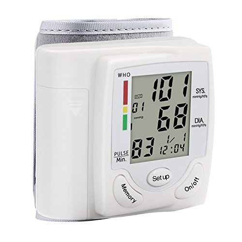 Automatic Wrist Blood Pressure Cuff Monitor with Large LCD Display and 90 Memory
