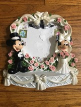 DISNEY Mickey Mouse & Minnie Mouse Wedding Picture Frame Bride Groom Heart AA110 - $19.34