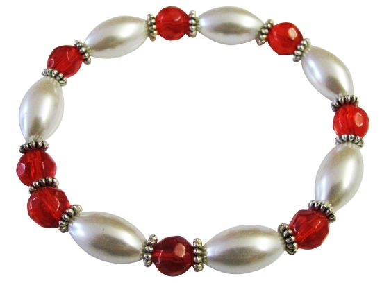 White Oval Pearl Lite Red Glass Ball 10mm Prom Stretchable Bracelet