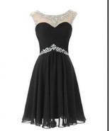 Navy Blue Chiffon Crystal Short Bridesmaid Dress Ruffle Homecoming Party... - $72.88