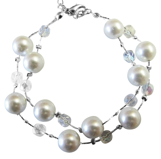 Double Stranded White Pearl Immitation AB Crystal Beads Bracelet