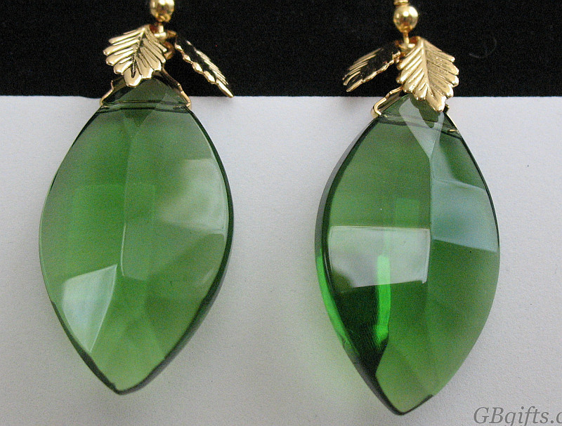 Green Celestial Crystal Earrings  #EC1000001