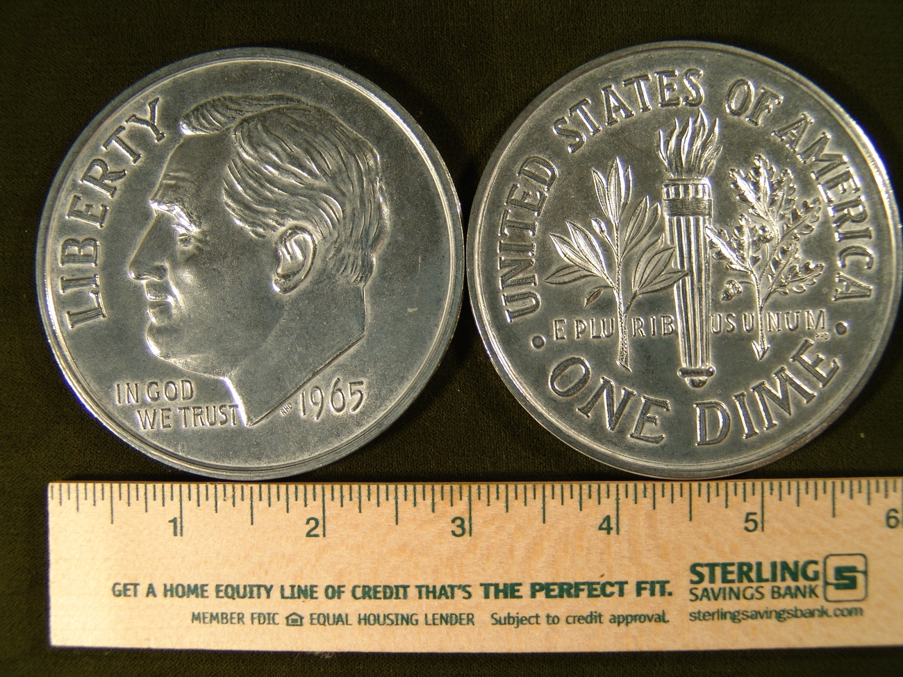 "Big 3"" Inch Metal Coin Replica of a 1965 Roosevelt Dime"