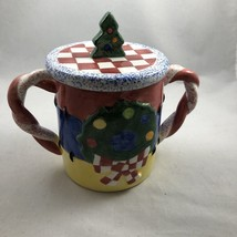 Christmas Sugar Candy Bowl With Cover Handcrafted LOTUS 1995 Ceramic QQ - $12.19