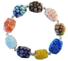 Comfortable Stretchable Bracelet Millefiori Murano Glass Bead Bracelet - $9.48