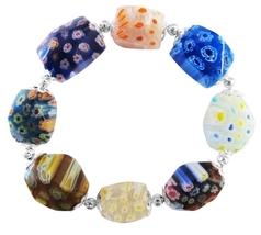 Millefiori Murano Glass Bead Bracelet Stretchable Comfortable Bracelet - $9.48