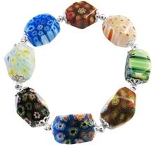 Stretchable Bracelet Millefiori Murano Glass Bead Bracelet - $9.48