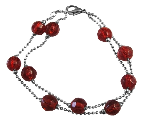 Double Stranded Simulated Multifaceted Red Crystals 10mm Bracelet