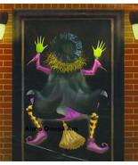 Hilarious Crashing Witch Door Wall Mural Halloween Decor  - $6.92