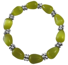Stretchable Bracelet Yellow Cat Eye Beaded Bracelet w/ Daisy Spacing - $9.48