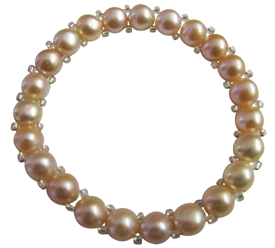 Beautiful 6mm Peach Simulated Freshwater Pearls Stretchable Bracelet