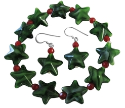 Christmas Stretchable Bracelet & Sterling Silver Earrings Green Star - $8.85