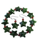 Christmas Stretchable Bracelet & Sterling Silver Earrings Green Star - $8.85