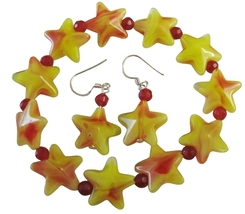Yellow Star & Red Beads Christmas Stretchable Bracelet Silver Earrings - $8.83