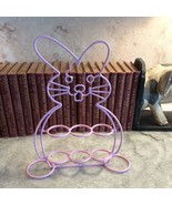 Bunny Rabbit Easter 6 Eggs Standing Holder Decorative Pink Coated Wire - $19.80