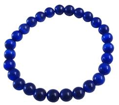 Cat Eye Dark Blue Beaded Stretchable Bracelet Handmade Jewelry - $8.18