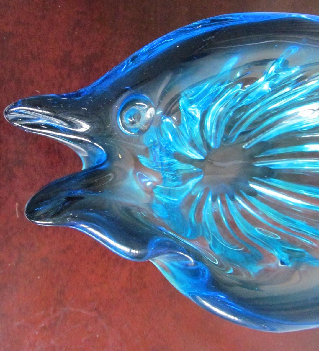 Vintage Murano Sculptured Solid Pulled Glass Fish Designed Table Display