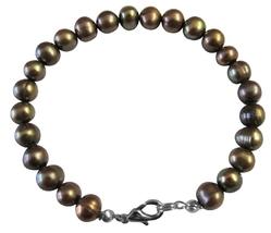 Jewelry Dyed Brown Olivine Metallic Freshwater Pearl Bracelet - $9.48