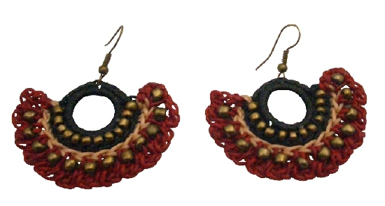 Beautiful Handmade Crocheted Jewelry Black & Red Fashionable Earrings