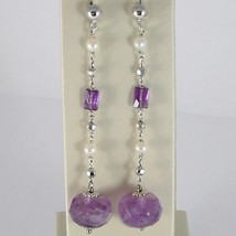925 STERLING SILVER PENDANT EARRINGS WITH FACETED AMETHYST AND WHITE PEARLS
