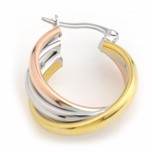 Large Twisted Tri-Color Silver, Gold & Rose Tone Hoop Earrings- United Elegance image 4