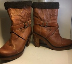 Timberland Leather Womens Boots Sz 10 Brown Platform Partial Lining Heel - $72.55