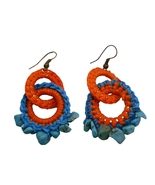 Bohemian Handknitted Orange Turquoise Earrings w/ Tuquoise Nuggets - $7.53