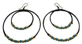 Double Circle Hoop Earrings Knitted Wax Cord Turquoise Golden Beads - $6.88
