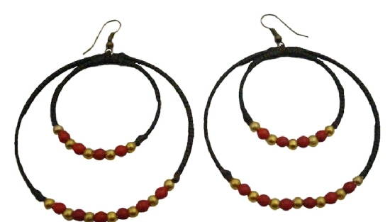 Double Hoop Wax Cord Round Shaped Crochet Coral Golden Beads Earrings