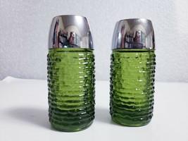 Vintage Anchor Hocking Soreno Avocado Green Glass Salt & Pepper Shaker Set - $7.43