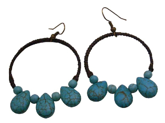 Wax Cord Woven Shop Perfectly Boho Fantasy Stunning Turquoise Earrings