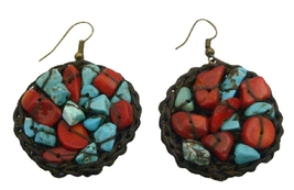 Hand Knitted Turquoise Coral Hippie Women Ring Hoop Dangle Earrings - $7.53