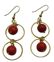 Winsome Oxidized Gold Circle Ring Coral Dangling Coral Beads Earrings - $6.88