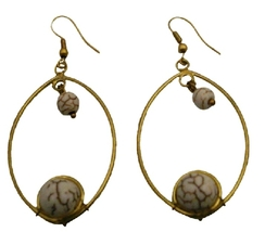 Women Fashion White Turquoise Dangling Gold Oxidized Hoop Earrings - $6.88